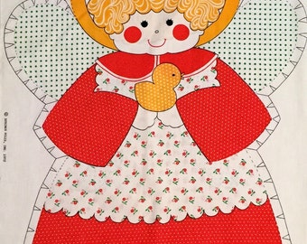 CHRISTMAS ANGEL Fabric Panel ~ Vintage Springs Mills Large Angel Doll with Wings & Halo