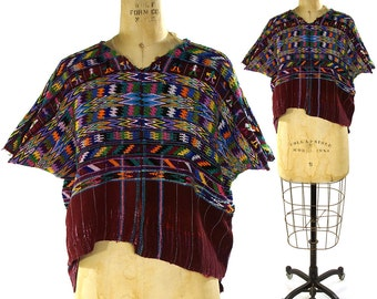 Guatemalan Huipil Embroidered Cotton Blouse / Vintage 1960s Ethnic Bohemian Blouse with Hand Embroidery / Hippie Boho Mexican Peasant Folk