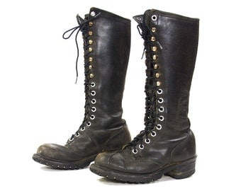 80s Lace Up Knee High NaNa Campus Boots / Vintage 1980s Tall Distressed Black Leather Punk Rocker Logger Military Boots / Women's Size 8