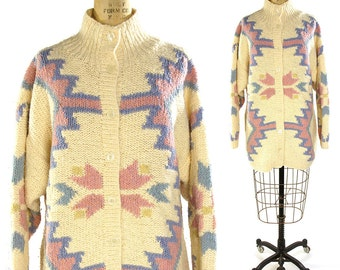 Southwest Sweater / Vintage 1980s Chunky Cardigan Sweater with Southwestern Pattern in Pastels