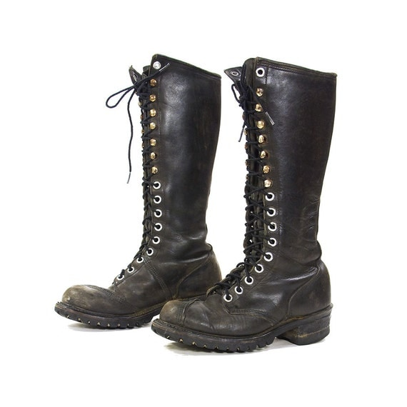 80s lace up knee high nana cus boots vintage 1980s