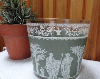 Helenic Grecian Glass Ice Bucket Wedgewood Green Jeanette Glassware