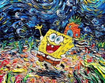 Spongebob Art - Cartoon Starry Night print van Gogh Never Saw Bikini Bottom by Aja 8x8, 10x10, 12x12, 20x20, and 24x24 inches choose size