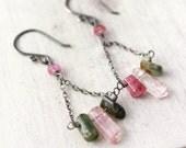 Rainbow Tourmaline Crystal Chandelier Earrings