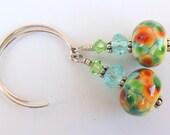 Garden Party Handmade Lampwork Bead Dangle Earrings