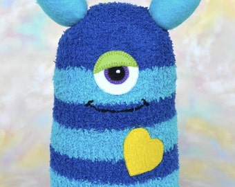 Handmade Sock Monster Doll, Plush Stuffed Art Toy, Hug Me Monster, Personalized Tag, Royal Blue, Turquoise, Yellow, 10 inch, Ready-made