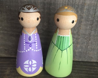 Sofia the First and Amber Pegbuddies Peg Doll People Birthday Cake Topper