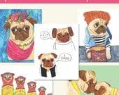 Pug Art Print Set, Dog Artwork, Pug Decor, Pug Gifts, Gift for Her, Pug Love, Pug Dog, Funny Animal Art, Quirky Art, Colorful Wall Art