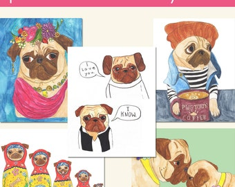 Pug Art Print Set, Dog Artwork, Pug Decor, Pug Gifts, Gift for Her, Pug Love, Pug Dog, Funny Animal Art, Quirky Art, Colorful Wall Art
