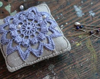 Linen  pincushion - crochet motif -- lavander