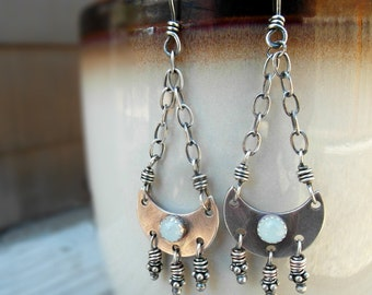 Crescent Moon Earrings New Moon Aquamarine Gemstone