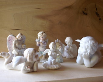 Vintage Porcelain lot of Angels, Instant Collection of Cherub Figurines