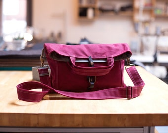 waxed canvas purse - The Paperback in deep magenta