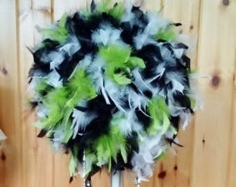 Tri Color Custom Hand Mixed Feather Kissing Ball,Feather Centerpiece,black,white,coral,lime green,Gatsby,unique
