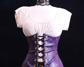 All Sizes Purple Harlequin Vinyl Wench Corset