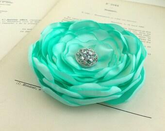 Mint Green Flower Hair Clip.Brooch.Pin.Bridesmaid.Headpiece.Satin Flower.Corsage.Mint Flower.Wedding.Light Green.Fascinator.Hair Piece