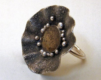 Sterling Silver and Gold Resin Ring - Statement Ring - Cocktail Ring - Handmade One of a Kind Fine Metal Jewelry - Size 7