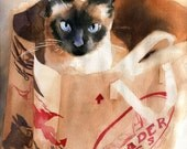 Traditional applehead Siamese cat art Seal Chocolate Point Print of my watercolor painting Huge Large Big Custom Hand Painted