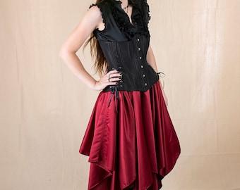 Dark Red Satin Eight Point Pixie Skirt Renaissance Halloween Costume
