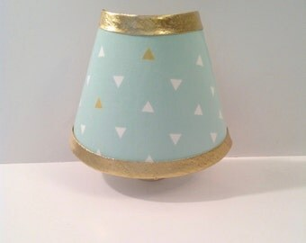 Metallic Gold & Mint Green Triangles Night Light (READY TO SHIP)