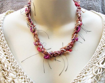 Fabric Crocheted Necklace White Brown Pink Fabric Necklace