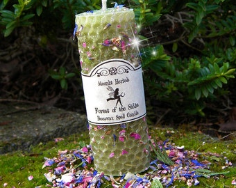 Forest of the Sidhe Beeswax Spell Candle - Earth Magick, Nature Worship, Communing with Earth Spirits, Faerie Offering, Pagan, Wicca