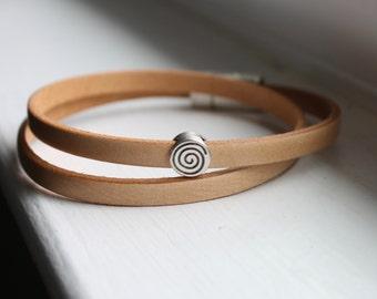Natural Leather Wrap Bracelet - Boho Leather Wrap Bracelet - Cuff Bracelet