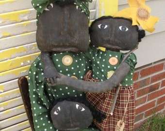 Primitive Black Folk Art Doll A Mother's Love