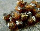 Gilded Henna (25) -Czech Glass Faceted Rounds 6mm