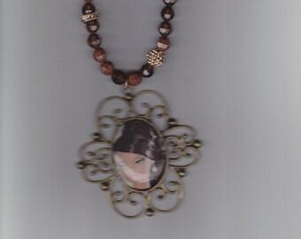 Black Barbie Vintage style Pendant Crystal Necklace