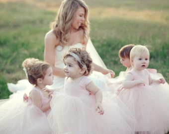Light Blush Flower Girl Dresses Gorgeous Tutu Frocks pastel rustic weddings pink dress custom gowns tulle dress stylemepretty