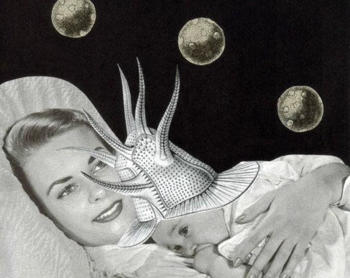 Weird Mother and Child Art, Strange Alien Baby Artwork
