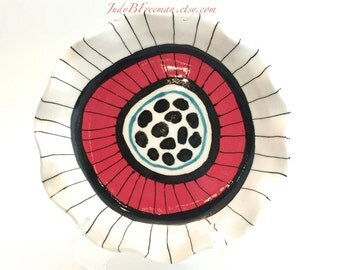 "Ceramic Breakfast Plate Red Black White 8"" Handmade Queen Coris Ready to Ship PL0006"
