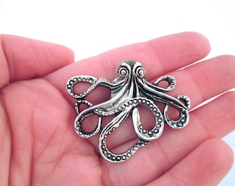 Silver plated octopus charms 44x36mm, pick your amount, D127
