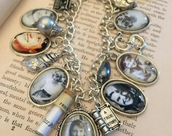 Sylvia Plath Bracelet, Charm Bracelet, Sylvia Plath Charm Bracelet, Silver Charm Bracelet, Literary Jewelry, Sylvia Plath, Mother's Day