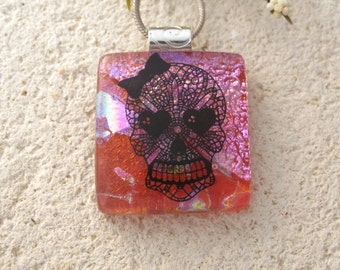 Girl Sugar Skull Necklace, Day of Dead Jewelry, Skeleton Muerte, Dichroic Glass Jewelry, Fused Glass Jewelry, Dichroic Necklace,  101516p102