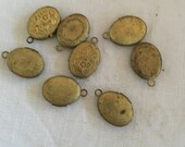 Shabby Vintage Brass Oval Locket. 16 mm. New Old Stock. Patina. Two.