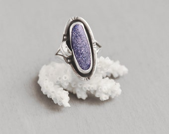 Vintage Blue Goldstone Ring - 925 sterling silver with leaf decoration - made in Mexico GF15 - Size 6.5