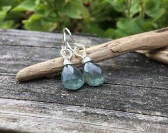 Moss Aquamarine, Sterling Silver, Gemstone Dangle Earrings, Wire Wrap Jewelry, Handmade Earrings, Faceted Gem, Seagreen Bluegreen
