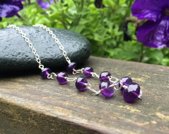 Amethyst Gemstone, Sterling Silver Necklace, 17 inch long, Genuine Amethyst, Handmade Necklace, Wire Wrap Jewelry, Purple Round Stones