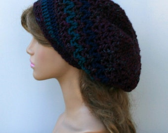 Dark grape jam slouchy beanie, smaller Hippie Dread Tam Hat, crochet beanie, woman slouch hat, slouchy beanie, vegan, soft, handmade beanie