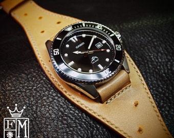 Leather Cuff Watch faux ostrich Casio diver Classic ROCKSTAR watch Bracelet made for YOU in NYC by Freddie Matara