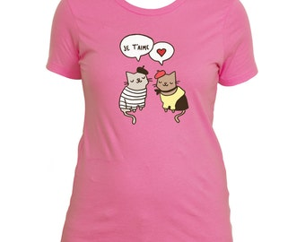Cute Women's T Shirt Je Taime French Cats in Love Paris Cat Cute Cat T Shirt Gift for Her