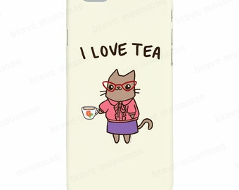 Cute iPhone 7 Case I Love Tea Cute Cat Phone Case Tea Lover Gift For Her Samsung Galaxy S7 Case