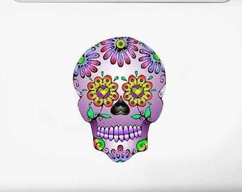 Purple Day of the Dead Sugar Skull Vinyl Art Decal Sticker Dia De Los Muertos