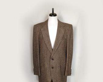 Vintage Men's Jacket, Sportcoat, Blazer, Wool, 1970's, Harris Tweed, Imported Scottish Wool, Leather Buttons,Brown Tweed, Medium