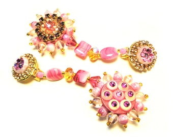 Chic in Pink, Exquisite rhinestone clip earrings, Pink tones