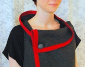 Variegate Vest ONE-SIZE Multi way, red,handmade, relaxed, asymmetrical design, Eco, handmade, upcycled, vintage fabric, wool, fall fashion