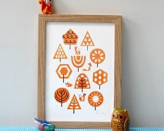Foxy Forest - A4 silkscreen print