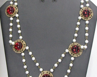 Ruby Red Double Strand Renaissance Necklace set